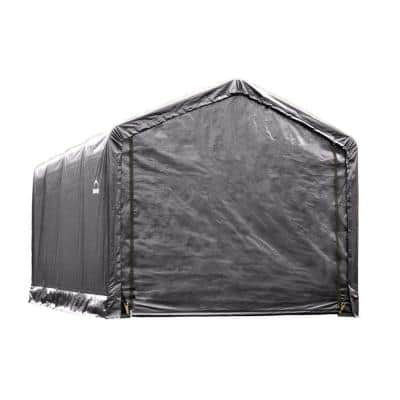 12 ft. W x 20 ft. D x 11 ft. H ShelterTube Steel and Polyethylene Garage without Floor in Grey with Waterproof Fabric