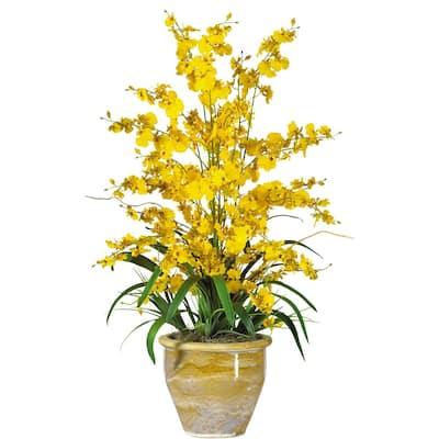 32 in. Triple Dancing Lady Silk Flower Arrangement in Yellow