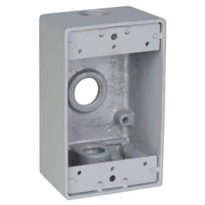 1 Gang Rectangular Weatherproof Outlet Box with 3 1/2 in. Holes -Silver (Case of 16)