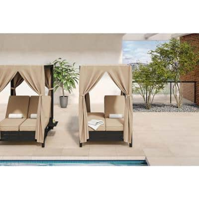 Arbor Point Commercial Aluminum Outdoor Day Bed with Sunbrella Antique Beige Cushions