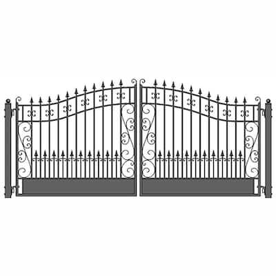 Venice Style 12 ft. x 6 ft. Black Steel Dual Swing Driveway Fence Gate