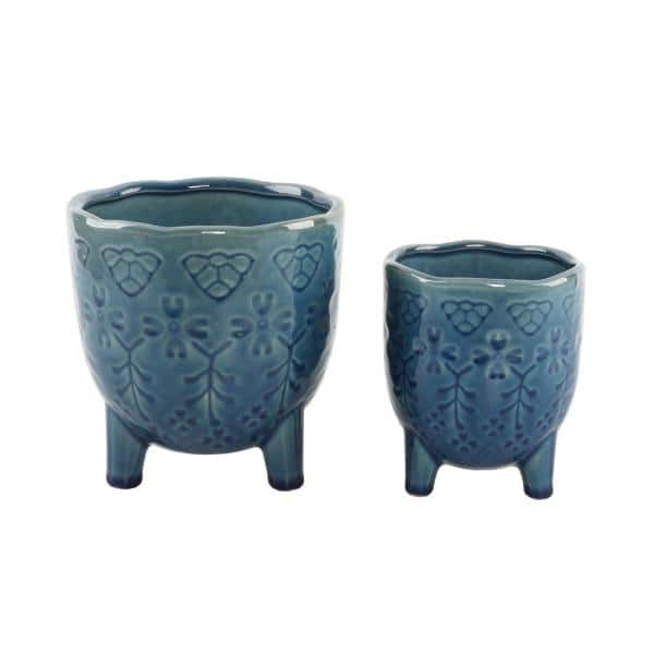 Flora Bunda 6 In And 4 25 In Glass Teal Blue Lobster Footed Ceramic Plant Pot Mid Century Planter Set Of 2 Ct1162e2 Gstl The Home Depot