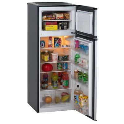 7.4 cu. ft. Apartment Size Top Freezer Refrigerator in Black and Platinum