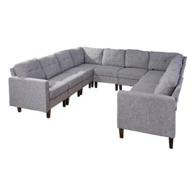 10-Piece Gray Tweed/Dark Brown Polyester U-Shaped Sectional Sofa with Wood Legs