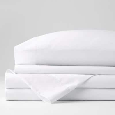 3-Piece White Solid 300-Thread Count Bamboo Cotton Sateen Twin Sheet Set