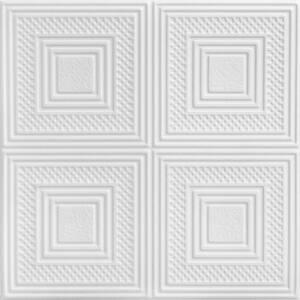 Nested Squares 1.6 ft. x 1.6 ft. Glue Up Foam Ceiling Tile in Plain White (21.6 sq. ft./case)