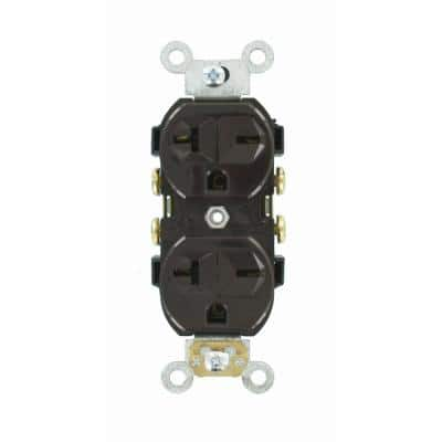 20 Amp Commercial Grade Self Grounding Duplex Outlet, Brown