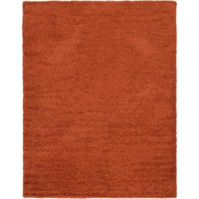 Solid Shag Terracotta 9 ft. x 12 ft. Area Rug