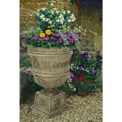 26 in. H. Granite Cast Stone Rose Urn
