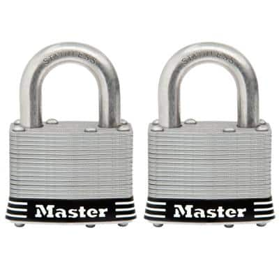 5SSTHC Stainless Steel Outdoor Padlock with Key, 2-Pack Keyed-Alike