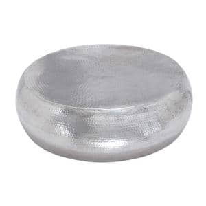 42 in. Silver Large Round Metal Coffee Table
