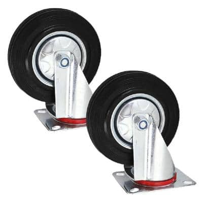 4 in. Heavy-Duty Rubber Swivel Wheel Plate Casters with 350 lbs. Load Rating (2-Piece)