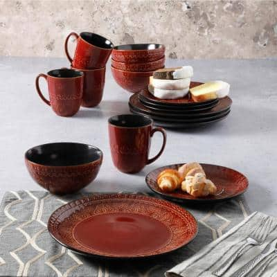 Milanto 16-Piece Contemporary Red Stoneware Dinnerware Set (Service for 4)