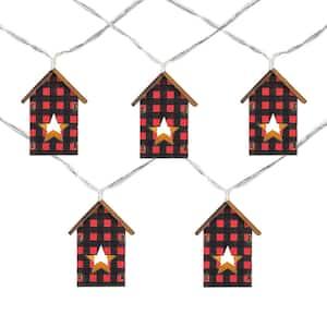 4.75 ft. Count B/O LED Warm White Plaid House Christmas Lights (Set of 10)