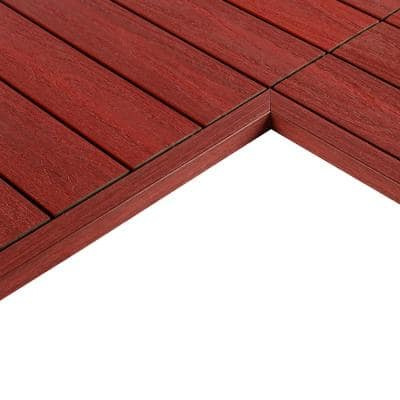 1/6 ft. x 1 ft. Quick Deck Composite Deck Tile Inside Corner Trim in Swedish Red (2-Pieces/Box)