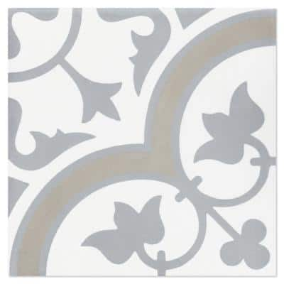 Tulips B Vintage 8 in. x 8 in. Cement Handmade Floor and Wall Tile (Box of 16/ 6.96 sq. ft.)