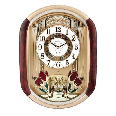 Musical Olde World 20 in. x 14.5 in. Wall Clock with 18 Song Selections and Gold Tone Molded Case