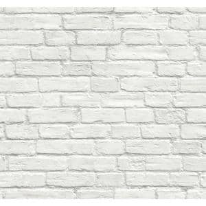 Vintage White Brick Vintage Vinyl Peel & Stick Wallpaper Roll (Covers 30.75 Sq. Ft.)