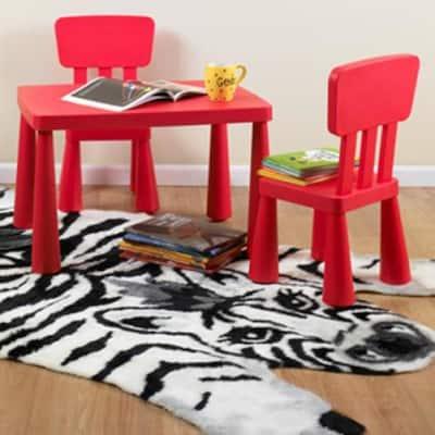 5 ft. x 7 ft. Zebra Kids Playmat Faux Fur Area Rug