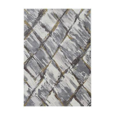 Bernadette Ivory/Gray 5 ft. x 7 ft. Abstract Polyester Area Rug