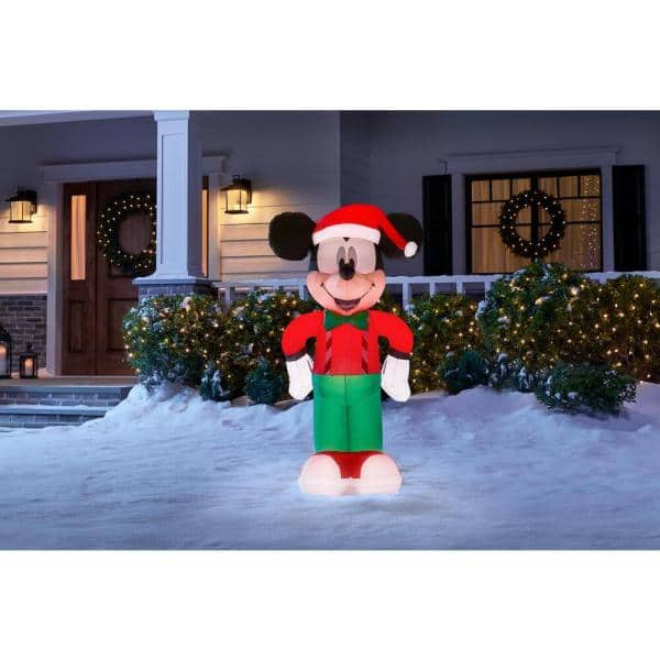 Disney 3 5 Ft Inflatable Mickey Mouse In Holiday Outfit 118706 The Home Depot
