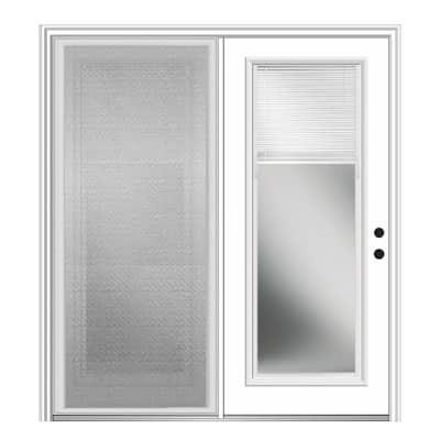 75 in. x 81.75 in. Primed Fiberglass Prehung Left Hand Internal Blinds Clear Glass Full Lite Hinged Patio Door w/ Screen