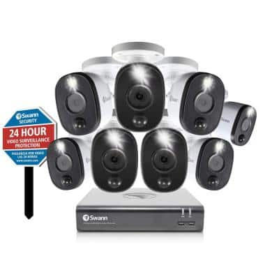 8 Channel 1080p 1TB DVR Security Camera System with 8 LED Warning Light Cameras and Yard Stake
