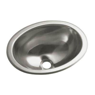 Drop-In Oval Stainless Steal Bathroom Sink in Stainless Steel