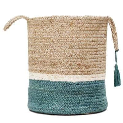 Teal / Natural Jute 19 in. Color Block Storage Basket with Handles