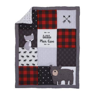 Little Man Cave Bear Fox Moose Buffalo 3-Piece Mini Crib Bedding Set (Comforter and 2-Fitted Mini Crib Sheets)