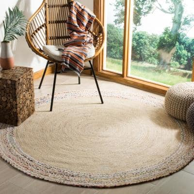 Cape Cod Ivory/Light Beige 4 ft. x 4 ft. Round Striped Gradient Area Rug