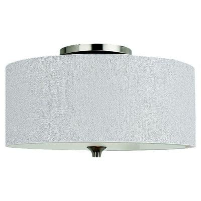 Stirling 14 in. W 2-Light Brushed Nickel Flush Mount with White Linen Drum Shade
