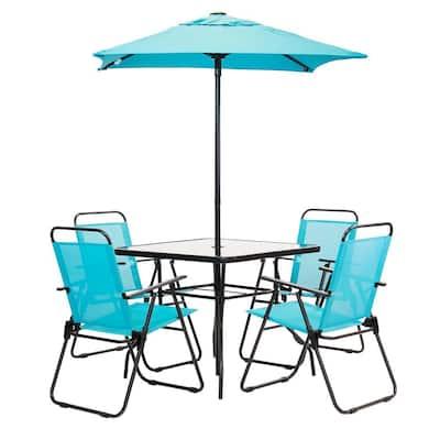 6-Piece Metal Square Outdoor Patio Table Set in Aqua