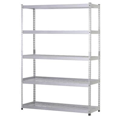 Silver 5-Tier Riveted Steel Garage Storage Shelving Unit (48 in. W x 78 in. H x 24 in. D)