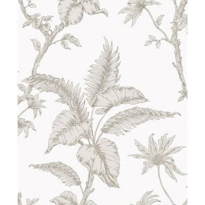Cival White Fern Trail Strippable Wallpaper Covers 57.5 sq. ft.