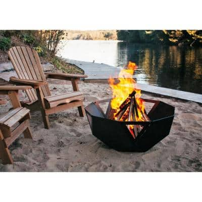 Geo 30 in. x 13 in. Round Steel Wood Fire Pit/Bowl