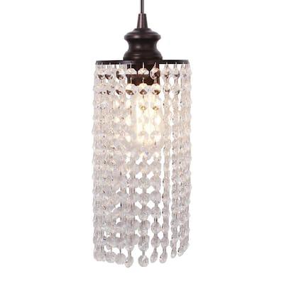Instant Pendant 1-Light Recessed Light Conversion Kit Brushed Bronze Crystal Shade