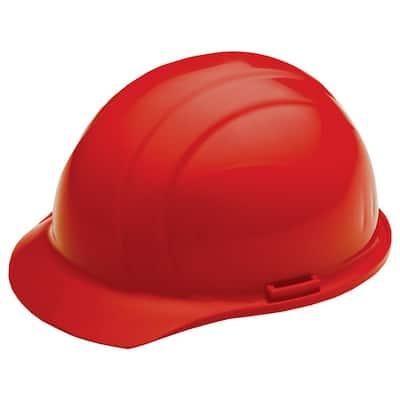 4 Point Nylon Suspension Mega Ratchet Cap Hard Hat in Red