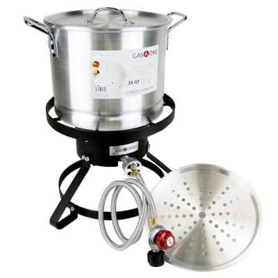 Outdoor Propane Burner Cooker with Steamer Pot for Turkey Fry and Tamale