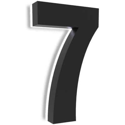 7 in. Upscale LED Modern House Number, Stainless Steel with Black Coating and Backlit House Number(Black 7)