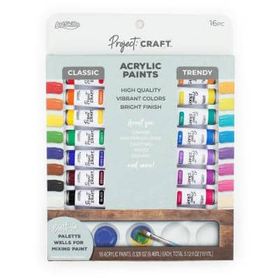 Project Craft Premium Acrylic Paint Set for Art & Crafting, 16 Colors