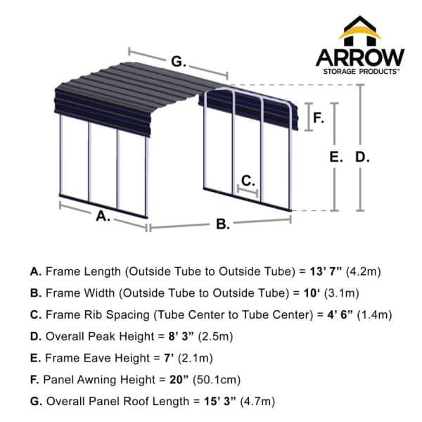 Arrow 10 Ft W X 15 Ft D Charcoal Galvanized Steel Carport Car Canopy And Shelter Cphc101507 The Home Depot