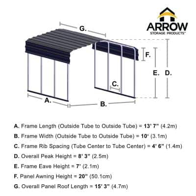 10 ft. W x 15 ft. D Charcoal Galvanized Steel Carport , Car Canopy and Shelter