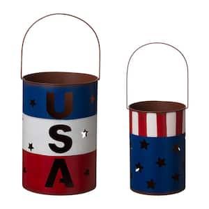 Metal Patriotic USA Lantern (Set of 2 )