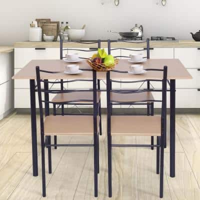 5-Piece Natural Wood Dining Table Set with Chairs