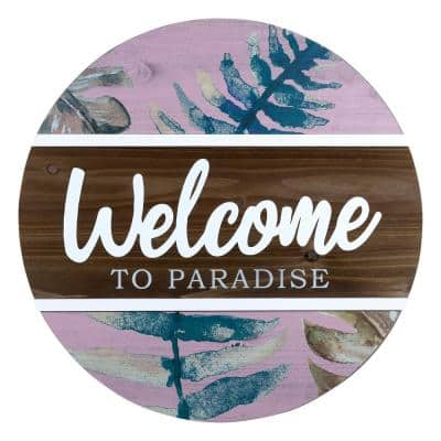 Tropical Welcome to Paradise Round Wall Decor