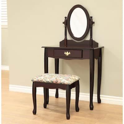 Queen Annie 3 -Piece Espresso Bedroom Vanity set
