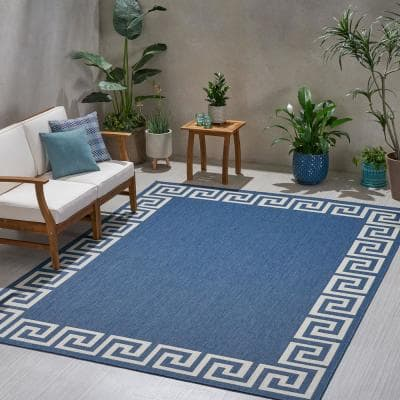 Larson Blue and Ivory 7 ft. x 10 ft. Border Outdoor Area Rug