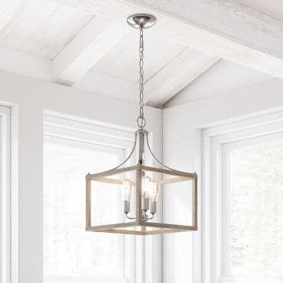 Boswell Quarter 3-Light Brushed Nickel Pendant with Weathered Wood Accents