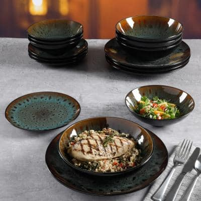 Kyoto 16-Piece Asian Inspired Teal reactive glaze with black and bronze accents Stoneware Dinnerware Set (Service for 4)